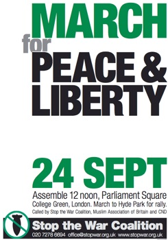 UK Antiwar March 24th September Poster