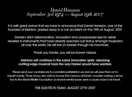 Daniel Hansson RIP
