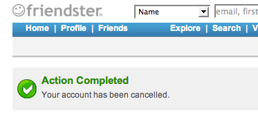 Friendster Cancelled