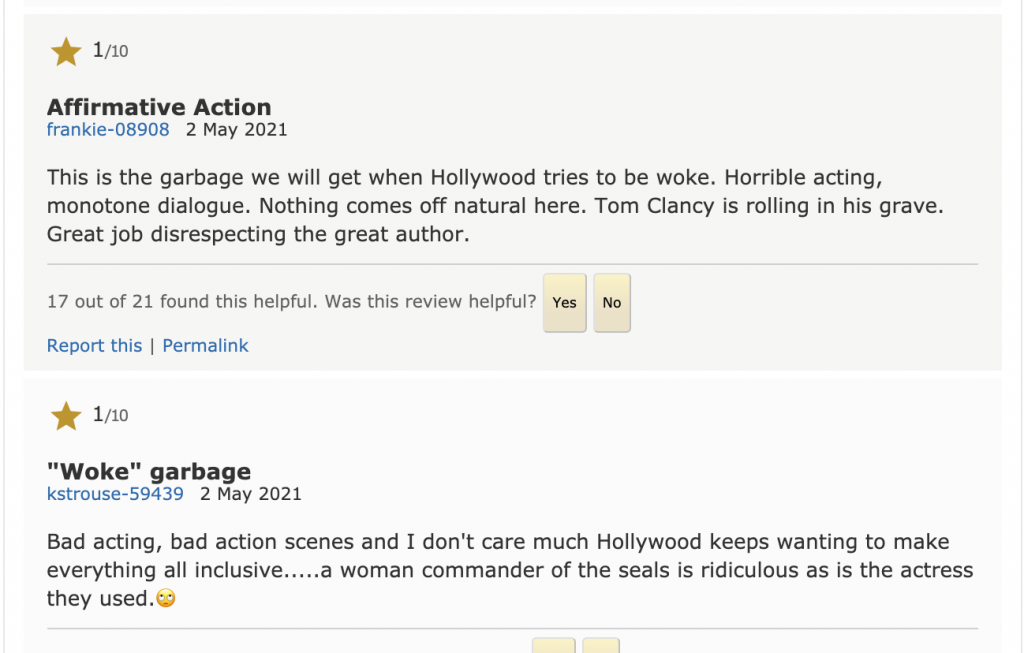 The picture has reviews criticising the film for having female and black actors in it