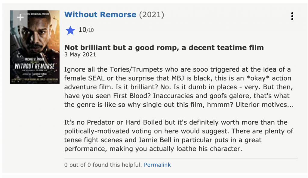 Not brilliant but a good romp, a decent teatime film 3 May 2021 Ignore all the Tories/Trumpets who are sooo triggered at the idea of a female SEAL or the surprise that MBJ is black, this is an *okay* action adventure film. Is it brilliant? No. Is it dumb in places - very. But then, have you seen First Blood? Inaccuracies and goofs galore, that's what the genre is like so why single out this film, hmmm? Ulterior motives...  It's no Predator or Hard Boiled but it's definitely worth more than the politically-motivated voting on here would suggest. There are plenty of tense fight scenes and Jamie Bell in particular puts in a great performance, making you actually loathe his character.