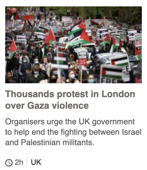 Thousands protest in London over Gaza violence Organisers urge the UK government to help end the fighting between Israel and Palestinian militants